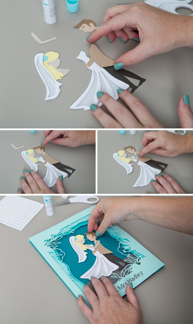 This DIY wedding portrait paper scene is the cutest!