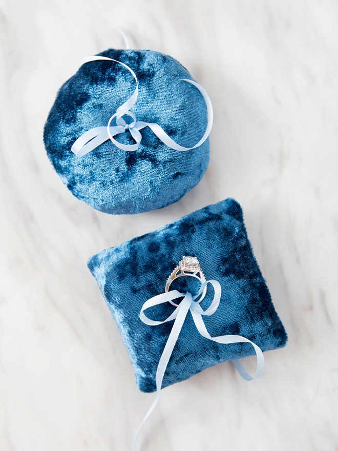 Make your own mini-velvet ring bearer pillow with our easy pattern!