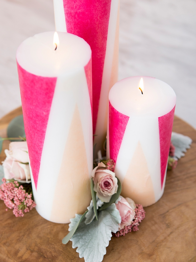 Learn how to add colored tissue paper to plain pillar candles!