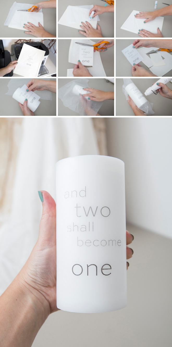 Learn how to add a printed design onto a plain pillar candle!