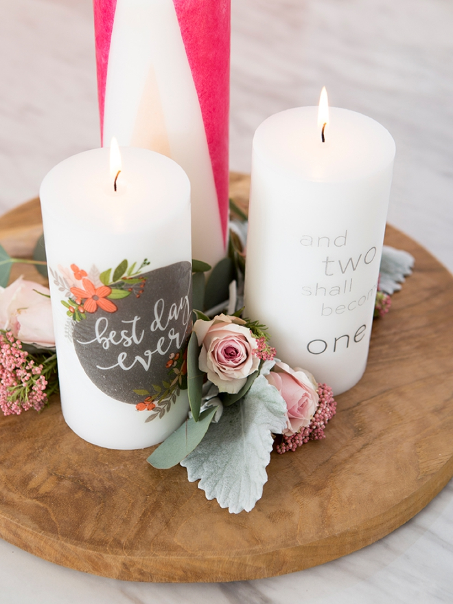 Learn how easy it is to personalize pillar candles for your wedding!