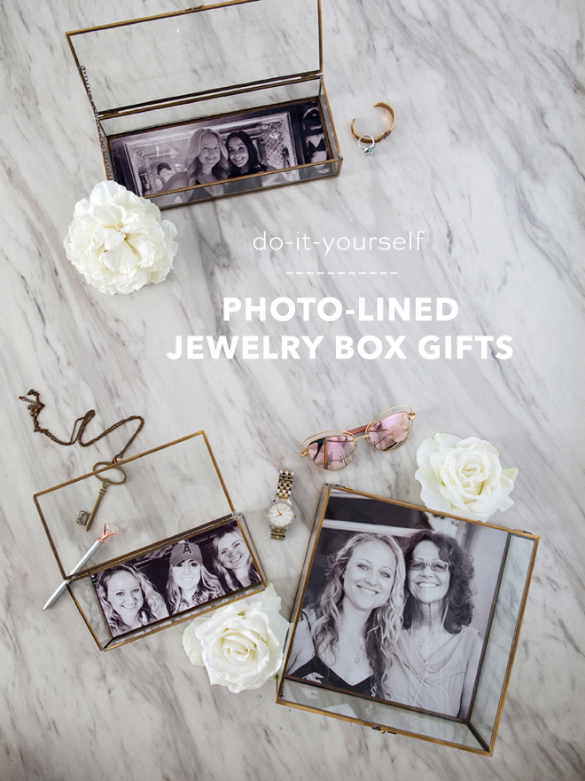 Print and glue your own photos into jewelry boxes as wedding gifts!