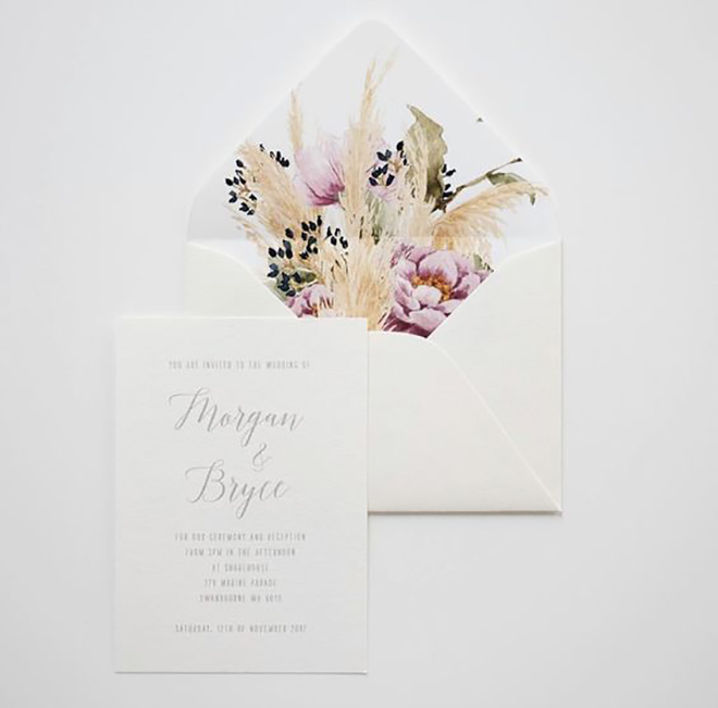 You know it's a trend when pampas grass invitations are out there.