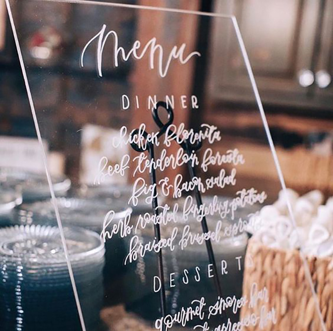 Acrylic menu is the new wood.