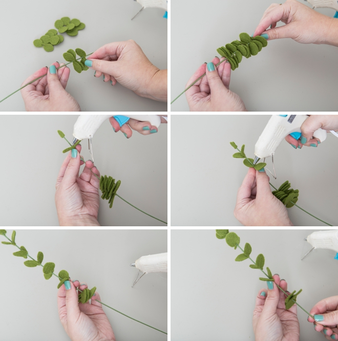 How to make your own felt eucalyptus leaves!