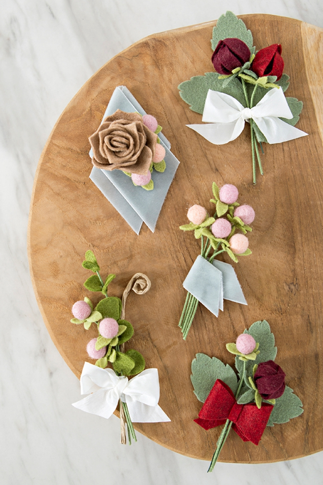 How to make the most gorgeous boutonnieres out of felt flowers!