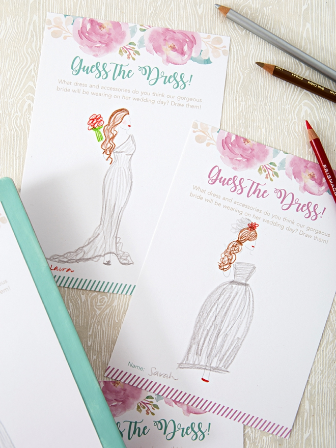 bridal shower printables this darling guess the dress game