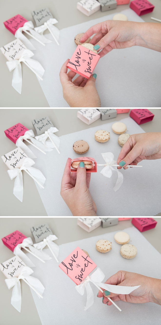 Make these free printable boxes for your macaron favors!