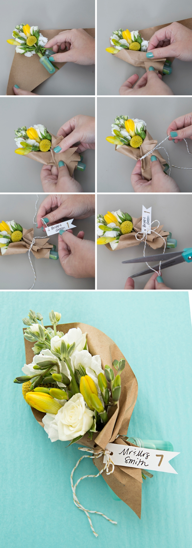 Make your own mini bouquets as seating cards or favors!