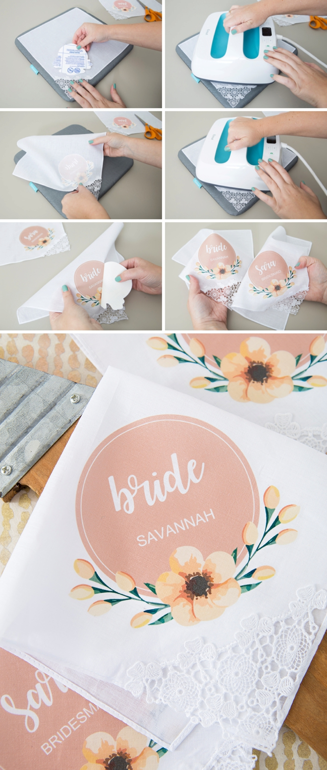 Edit our free designs to make your own bridal party handkerchiefs!