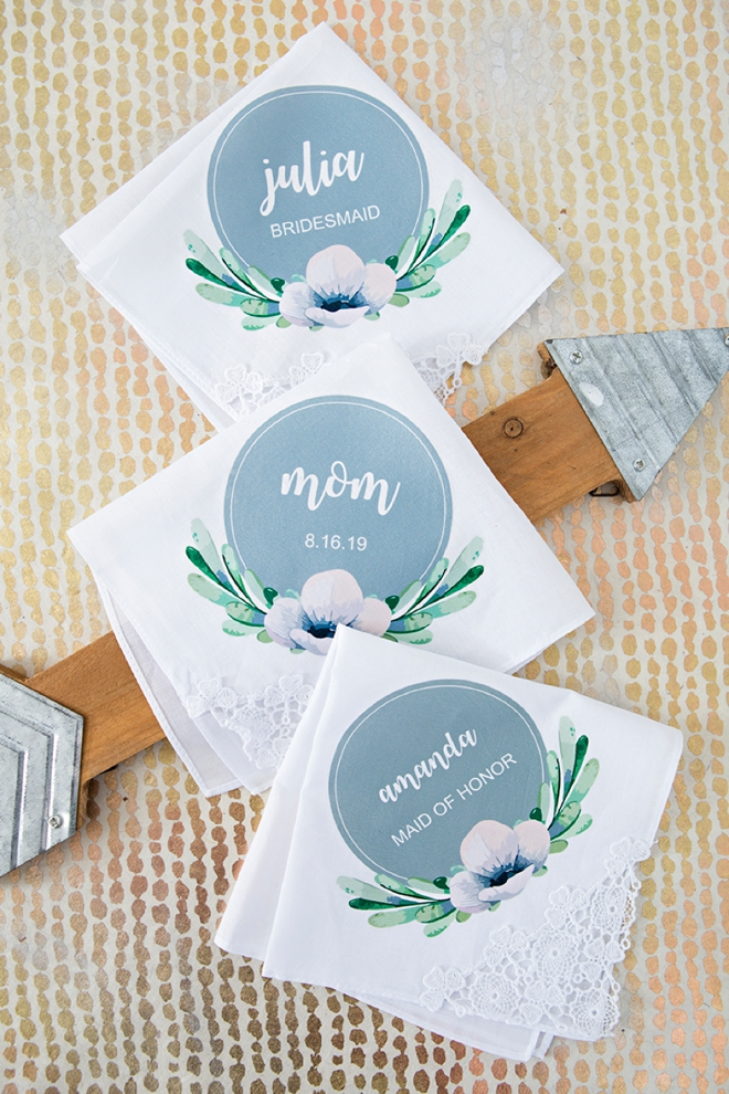 Make your own personalized bridal party handkerchiefs!