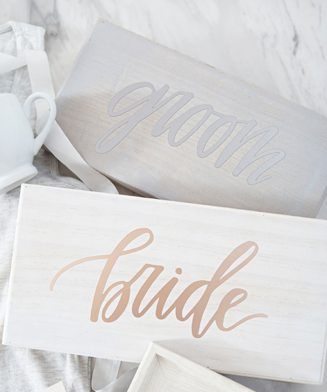 Bride and Groom signs by Something Turquoise