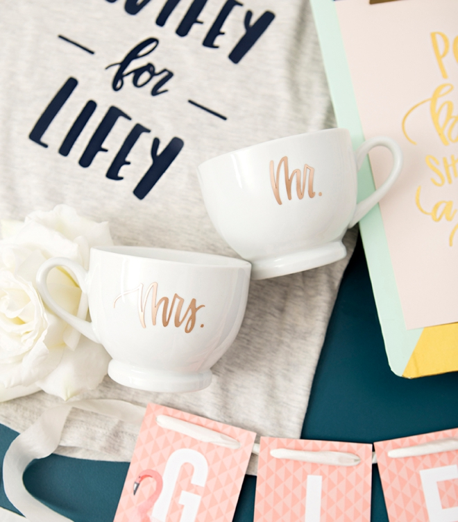 Mr and Mrs coffee mugs by Something Turquoise