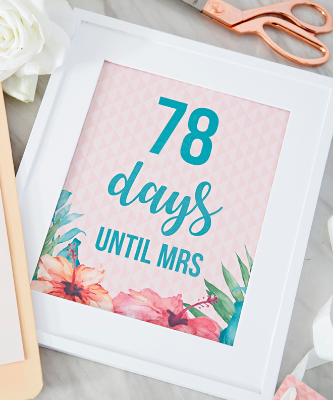 Days Until Mrs Sign by Something Turquoise