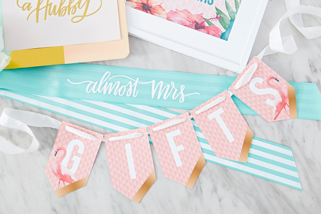 Almost Mrs sash and Gifts Banner by Something Turquoise