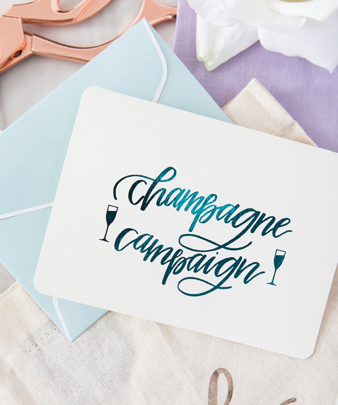 Champagne Campaign greeting card by Something Turquoise
