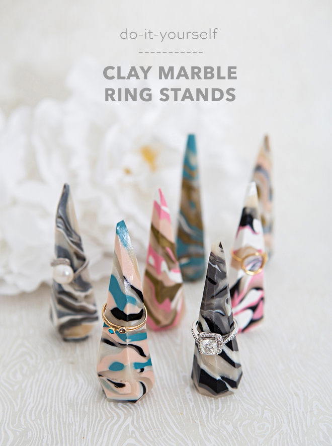 These DIY marble clay ring stands are adorable!