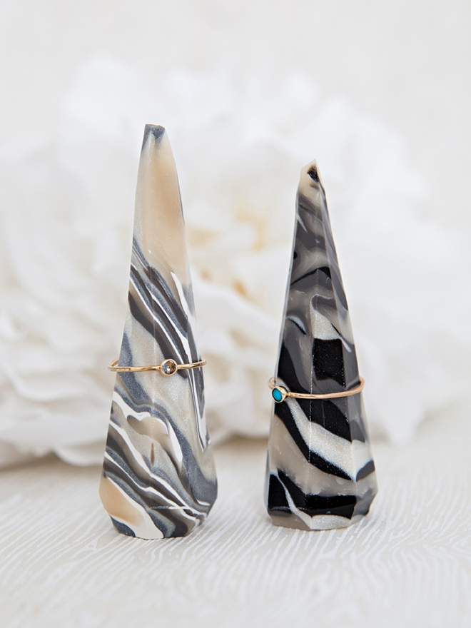 Learn how to make your own marbled ring stands out of clay!