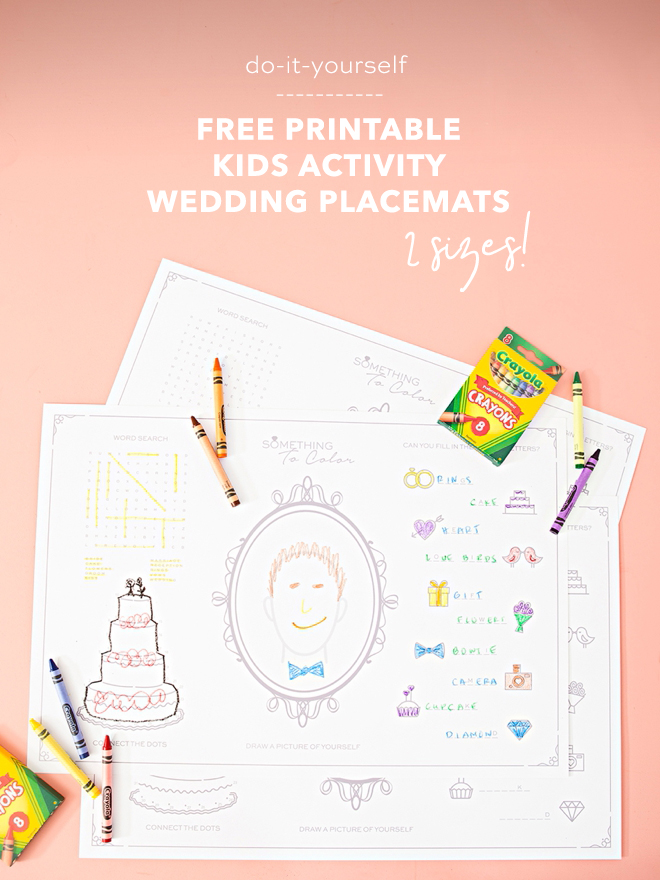 Print these kids activity placemats for your wedding for free!