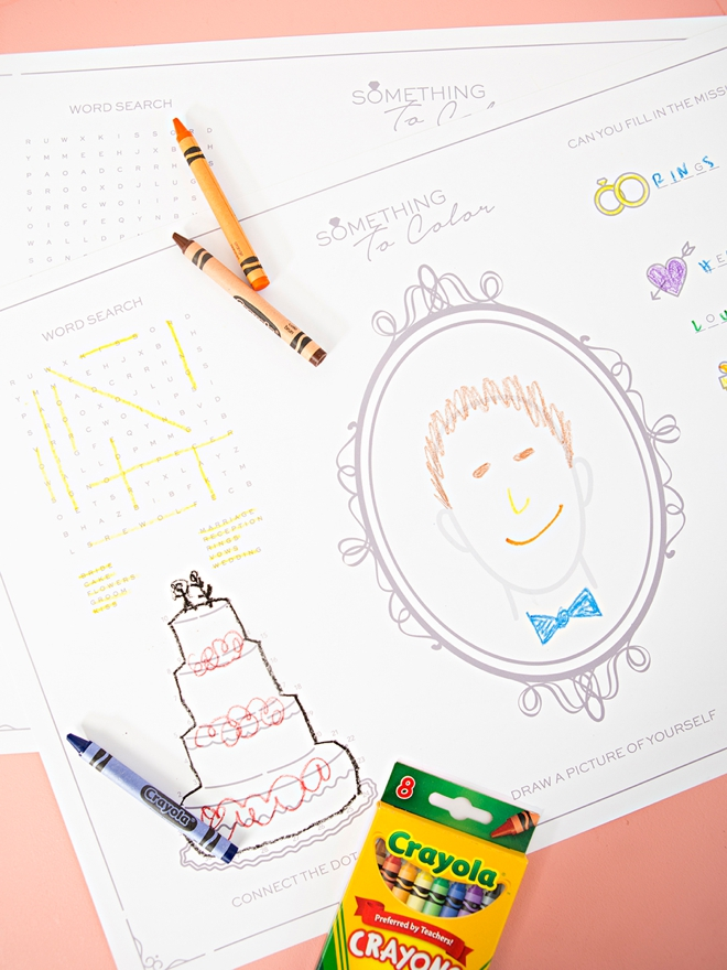 Check out these FREE printable wedding activity placemats for kids!