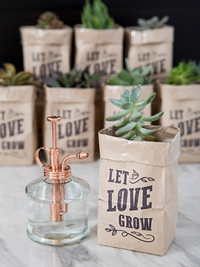 These printable Let Love Grow succulent wedding favors are the cutest!