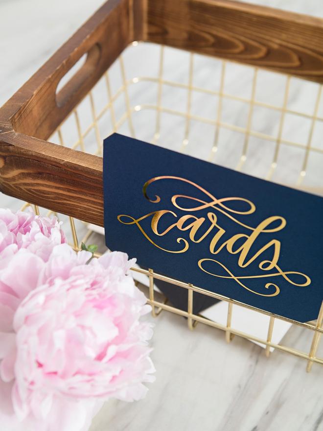 Grab our printable design to make your own wedding card basket!