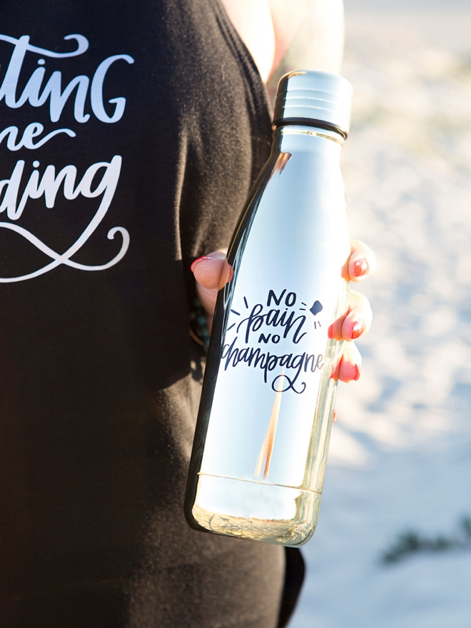 Make your own No Pain No Champagne workout water bottle!