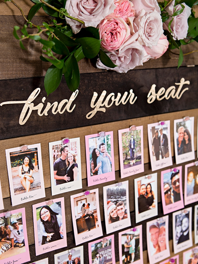 Make a photo seating chart with pictures instead of guests names!