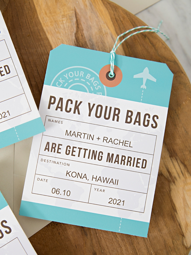 In love with these DIY Luggage Tag style Save the Dates!