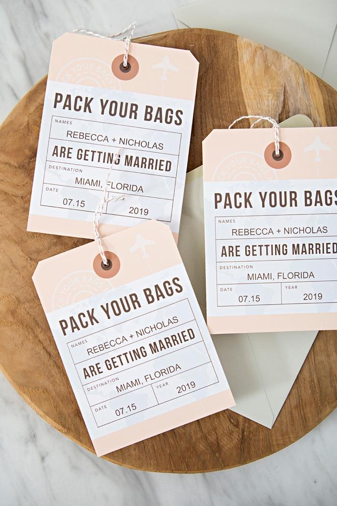 Destination Wedding Save the Date Custom Luggage Tag  Hang Tag