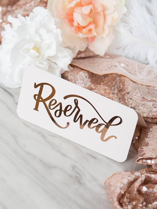 Printable, hand-lettered reserved sign for weddings and special events!