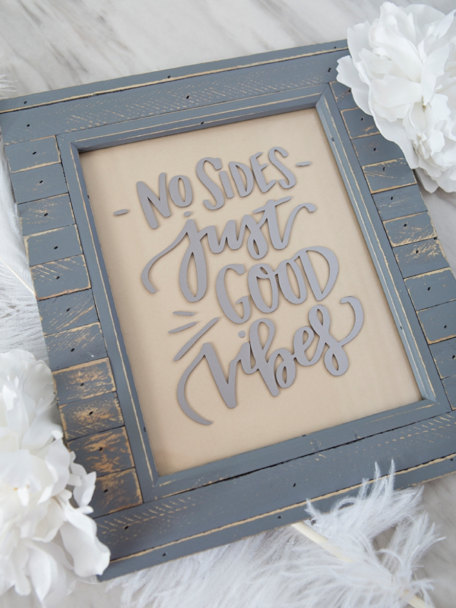DIY No sides just good vibes wedding sign!
