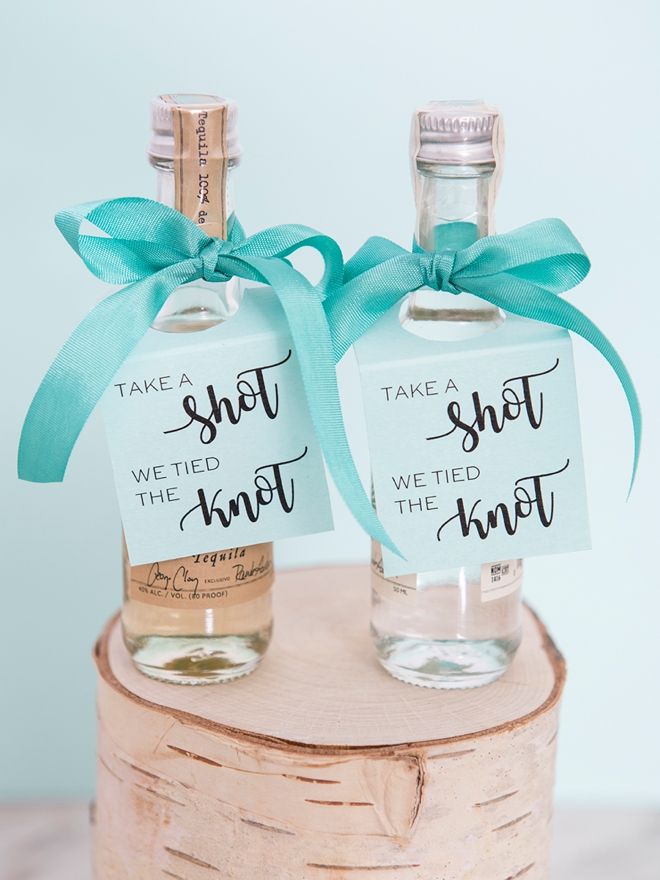 Take A Shot We Tied The Knot, DIY mini alcohol tags!