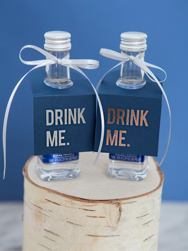 Drink Me, Mini Alcohol Bottle Favor Tags!