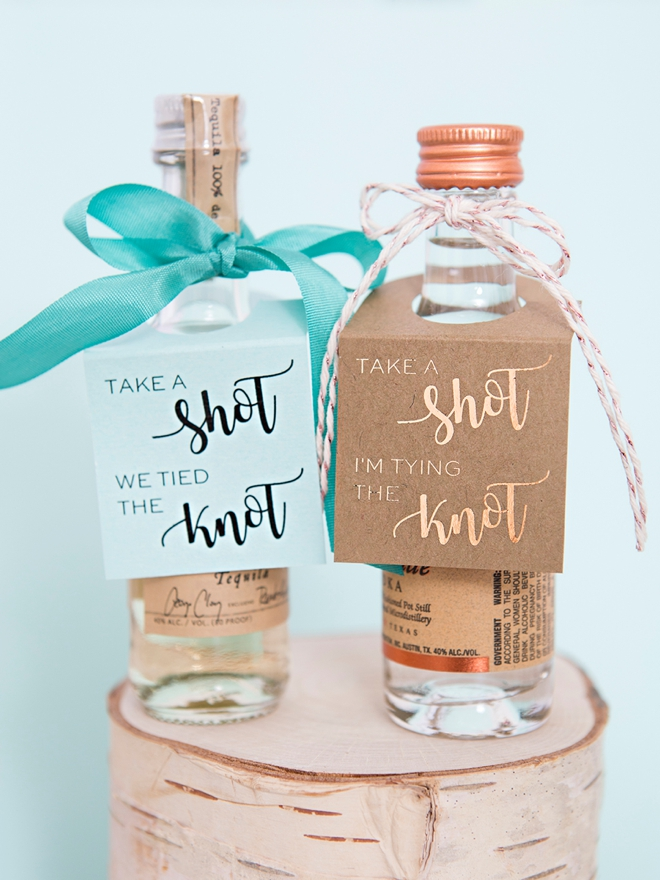 Take A Shot, We're Tying The Knot, Mini Alcohol Tags!