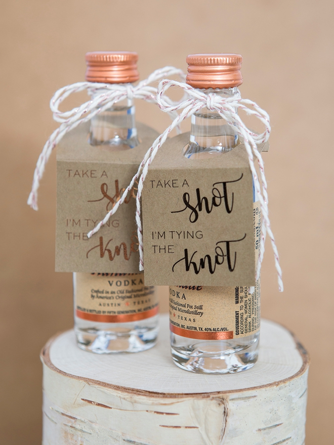 Take A Shot I'm Tying The Knot, Mini Alcohol Bottle Favor Tags!