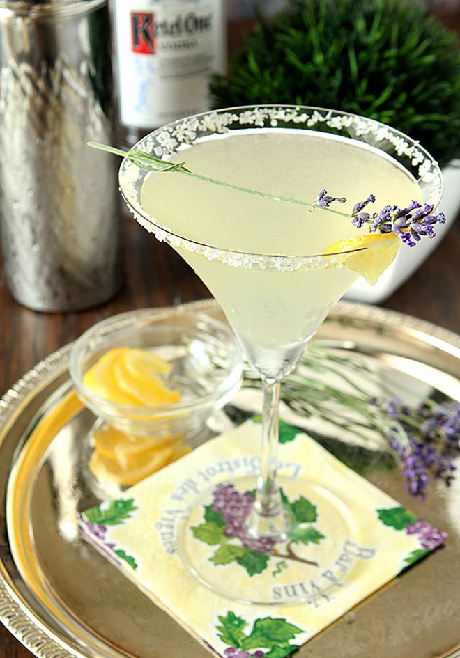 Lavender lemonade martini makes for a lovely libation!