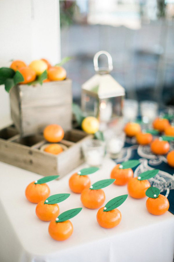 Add a pop of color through your escort cards.