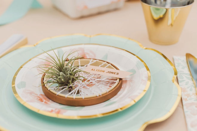 How cute is this embroidery hoop air plant favor!?