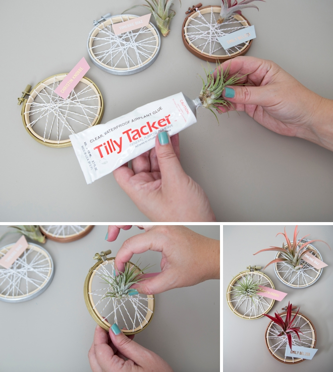 These DIY air plant favors doubled as seating cards for this baby shower!
