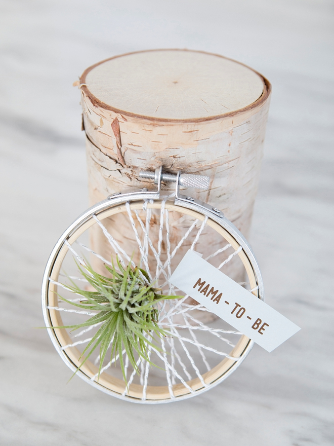 How cute is this embroidery hoop air plant baby shower favor!?