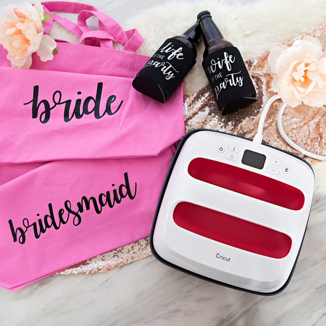 These DIY Bachelorette shirts, tote bags, and beer koozies are SO cute!