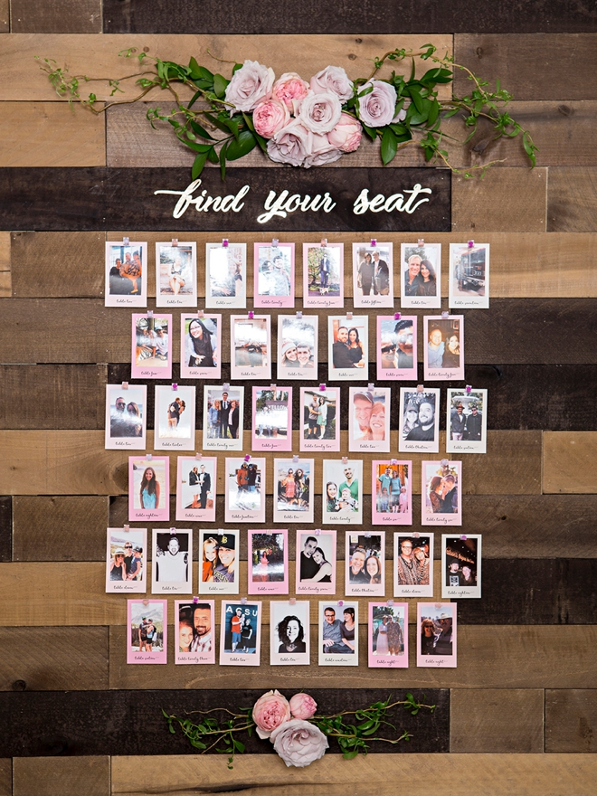 Your guests will love this photo seating display.