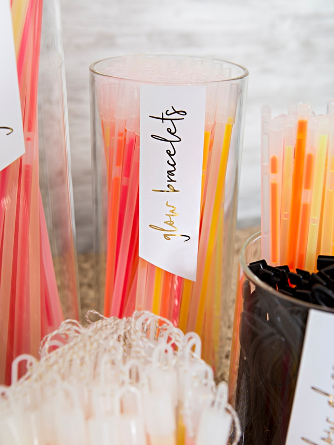 Make your own wedding glow stick bar!