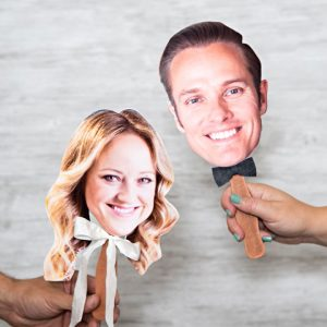 DIY photo paddles for the wedding shoe game!