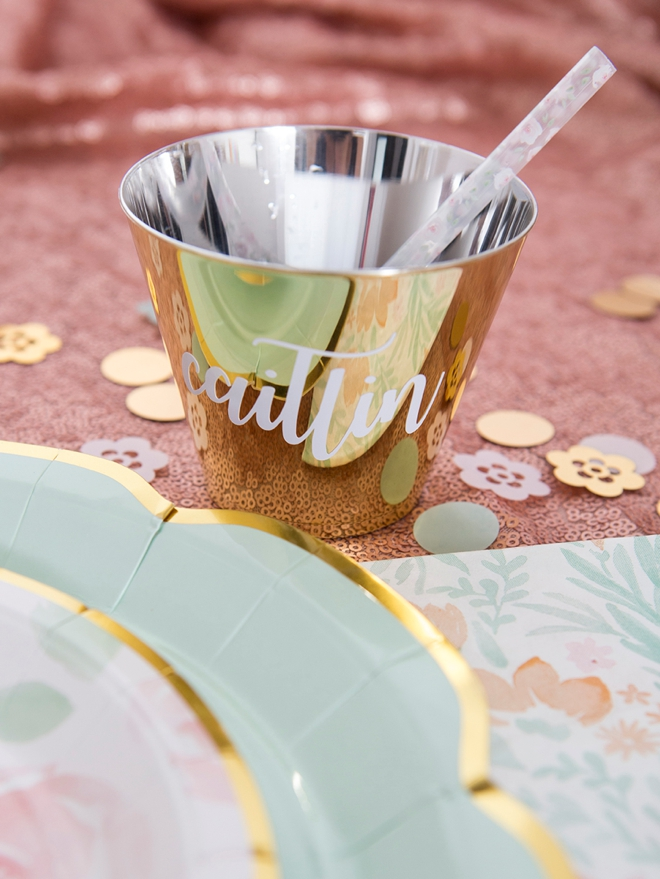 Use the new Cricut premium vinyl to personalize any cups!