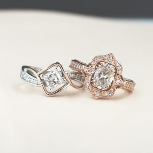 Vintage-style (but still modern!), conflict-free engagement rings. So gorgeous!