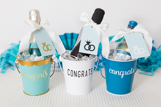 These DIY Mini-Wine bucket engagement gifts are the best!