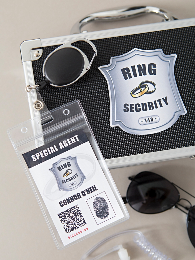 Make your own special agent style ring security kit for your ring bearer!