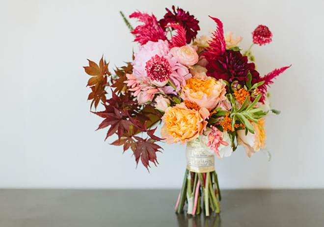 Add some changing leaves to a fall wedding bouquet.